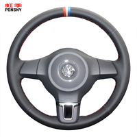 PONSNY Artificial Leather Car Steering Wheel Covers for Volkswagen Golf 6 Mk6 Jetta 6 Polo 2011 2014 VW