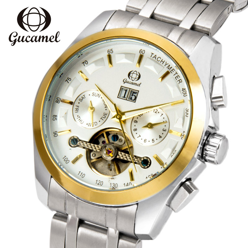 Genuine GUCAMEL Top Brand Automatic Mechanical Mens Watch Tourbillon Stainless Steel Male Waterproof Watches Relojes Hombre gucamel automatic mechanical watch hollow out design genuine leather band for men