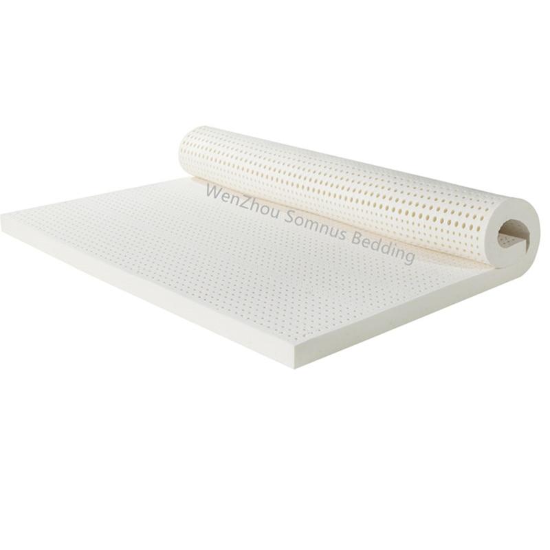 2/3/4 pulgadas de espesor Queen Size siete zonas moldeado plano colchón 100% natural de látex con cubierta interior medio suave
