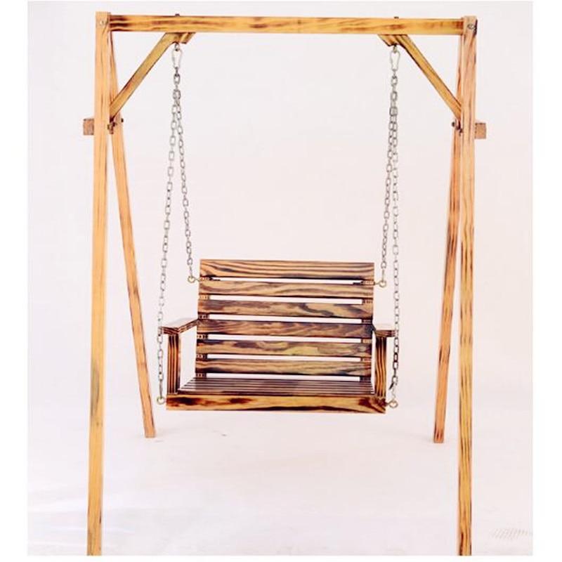 Enfants adulte anti corrosion bois fauteuil suspendu intérieure et extérieure balcon chaise berçante balançoire de jardin chaise (ne pas inclure plateau) dans Chaises de plage de Meubles