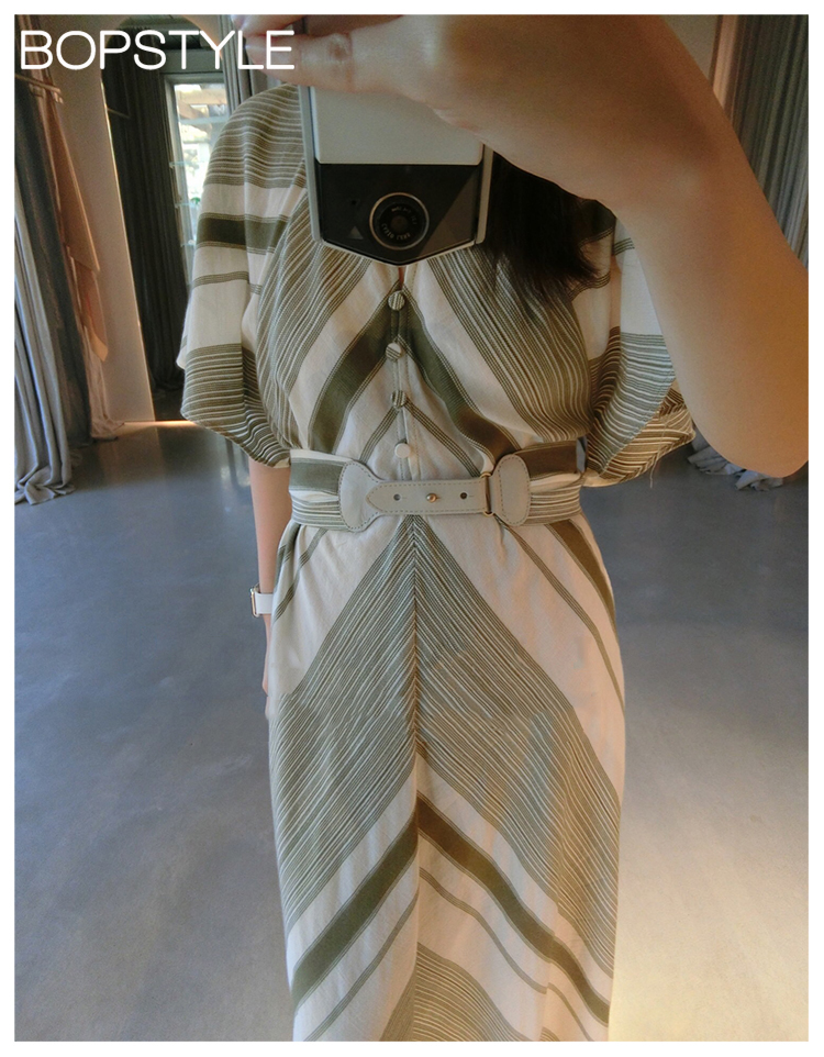 Maxi Bande Coton Et As Chevron À Ceinture Contraste Col 100 Géométrique Fermeture Mélodie Pic Stripe Mandarin Robe Avec Bouton Amovible L'avant IA8rIZq