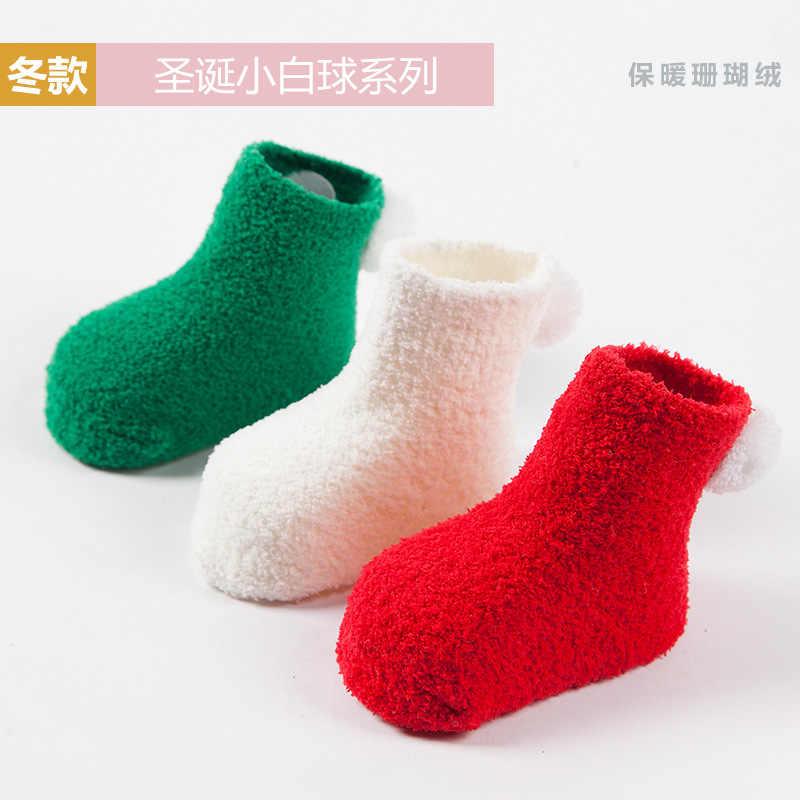 Newborn wool socks Christmas socks for kids. red soft wool baby socks
