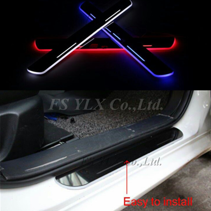 FSYLX led door moving scuff Welcome Pedal Door Sill plate light For Audi Q3 2013 - 2015 white led pedal light for Q7 2006-2015 free ship rear door of high quality acrylic moving led welcome scuff plate pedal door sill for 2013 2014 2015 audi a4 b9 s4 rs4
