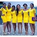 Yellow Sheath Column Short Bridesmaid Dress With Short Lace Sleeve Vestido De Festa De Casamento Wedding Party Dress