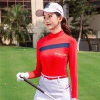 Women Long Sleeve Golf Trainning T Shirt Sunscreen O neck Shirt Ladies Breathable Cotton Women T Shirt Golf Sportswear D0690