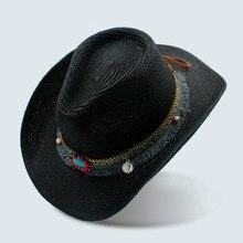 Trabajo hecho a mano del verano de los hombres de las mujeres hueco sombrero  de vaquero occidental Caballero palabra cowgirl Jaz. e2475efe3e1