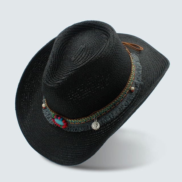1aa7e364421f3 US $9.98 35% OFF| Handwork Summer Women's Men's Hollow Western Cowboy Hat  For Gentleman Western Word Cowgirl Jazz Cap Summer Straw Beach Sun Hat-in  ...