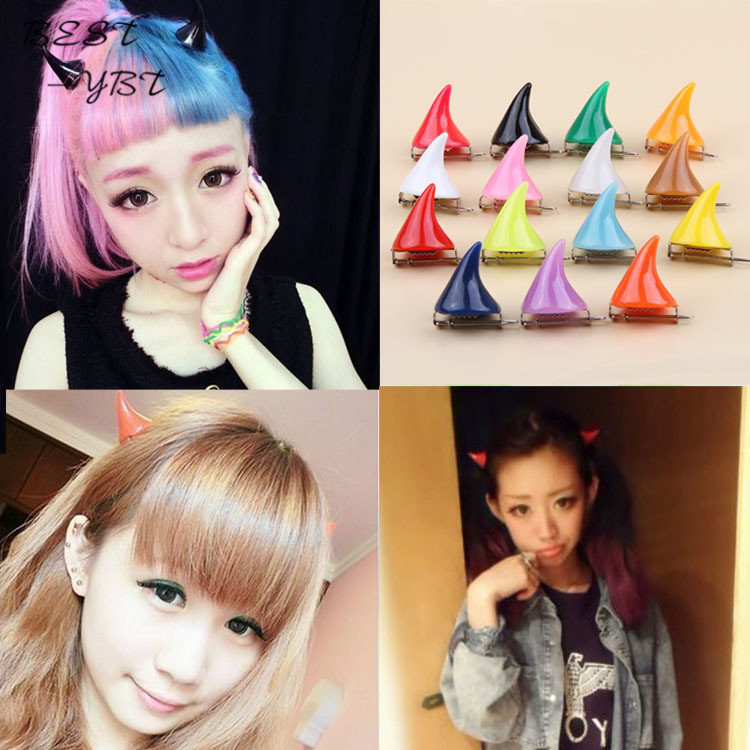 15 Colors Cute Halloween Stereo Devil Horn Ears Hairpin Girls Corner Hair Clip Hair Accessories Barrettes Head Bands headband 12 colors cute girls hairpins children elsa side knotted clip hairpin hair clip small size hair accessories