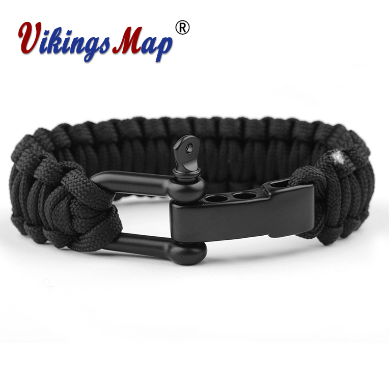 Rope Flettet Pulserer Outdoor Survival Camping Redning Paracord Armbånd Parachute Cord Men Emergency Black Rustfrie Spenner