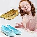 Niños girls shoes 2017 brillo de la manera niños chica ballet shoes pisos pajarita niños snow queen elsa shoes