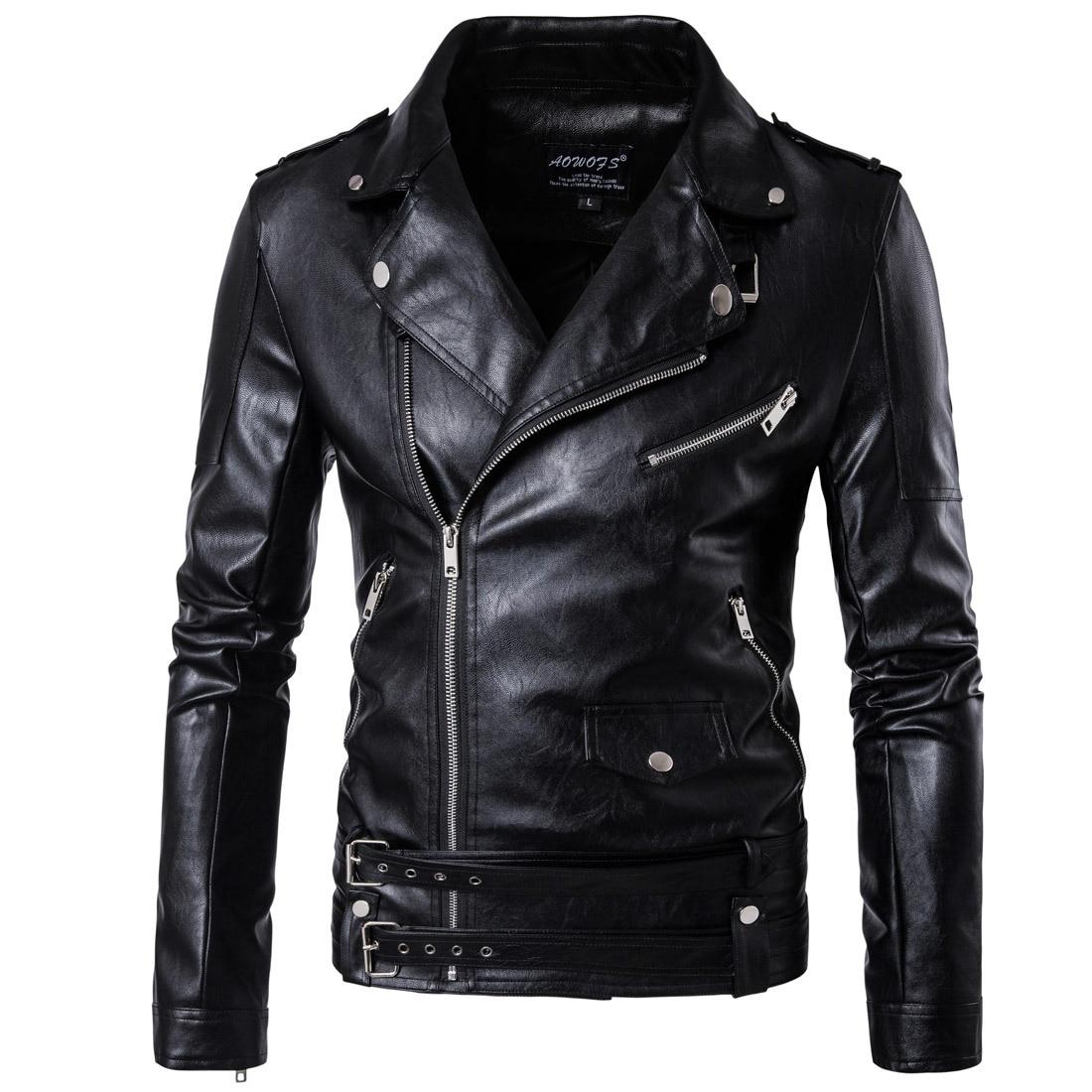 2017 PU Leather Black Jackets For Men Short Cool Best ...