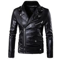 2017 PU Leather Black Jackets For Men Short Cool Best Designer Faux Leather Blazer Mens Casual Fashion Slim Coats Jacket