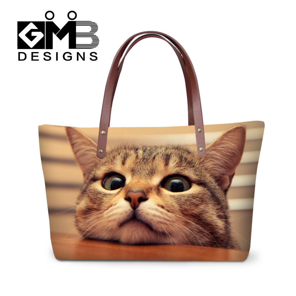 3D Funny Cat Print Womens Tote Animals Handbags Women Shopping Bags For Fashion Lady Female Casual Beach Bag Casual Shoulder Bag