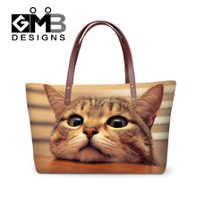 3D Funny Cat Print Womens Tote Animals Handbags Women Shopping Bags For Fashion Lady Female Casual Beach Bag Casual Shoulder Bag