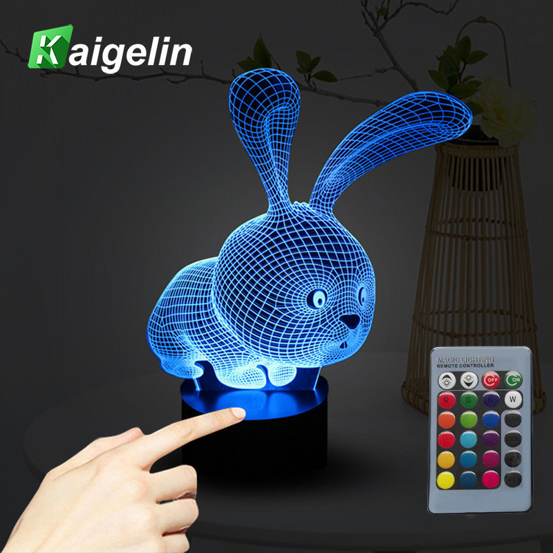 Novelty 3D Rabbit Shape Lamp Touch Sensor Light LED Nachtlampje 7 Colors Remote Control Table Lamp Child Night Light as Gifts 2018 hero batman bat wall night light lampara shadow projection lamp child kids toy gifts warm light sensor contrller multicolor