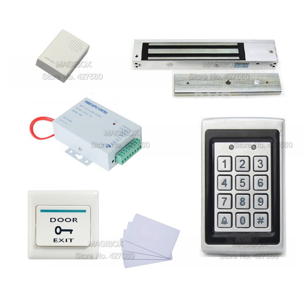 IP65 Durable Explosion-proof Metal Rainproof Access Control System set 280Kg Magnetic Lock+Power Supply+Door Bell+Switch 4pin 5pins waterproof magnetic explosion proof pushbutton switch kld 28a 5e4 ip65 220v magnetic starter electromagnetic switches