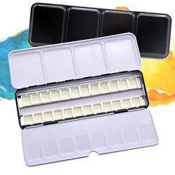 Armazenamento vazio da pintura da paleta da caixa das latas das tintas da aguarela com 6/12/24 panelas completas dos pces e 12/24/48 meia panelas para a pintura da arte