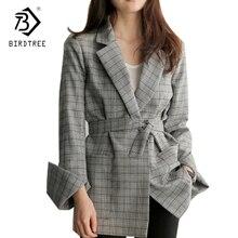 ФОТО fashion 2017 new autumn women gray plaid office lady coat fashion bow sashes split sleeve jacket elegant work jacket hot c7d103a