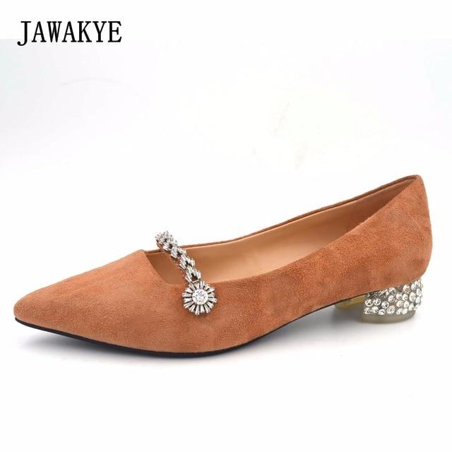 JAWAKYE Crystal Ballet Flats Shoes Women Autumn Solid Black Nude Real Suede  Rhinestone Belt Heel Slip-On Ladies Flat Shoes 8076bfd72e20