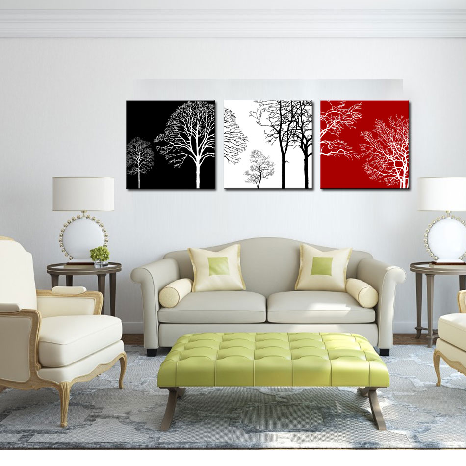 3 Picture Combination Wall Art Black White and Red Tree Painting ...