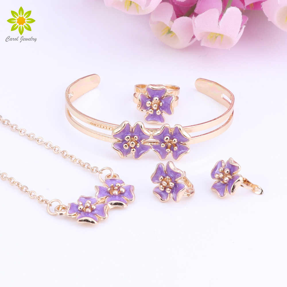 Baby Kids Children Girl Jewelry Sets Gold Color Cute Flower Pendant Necklace Bracelet Earrings Adjustable Ring