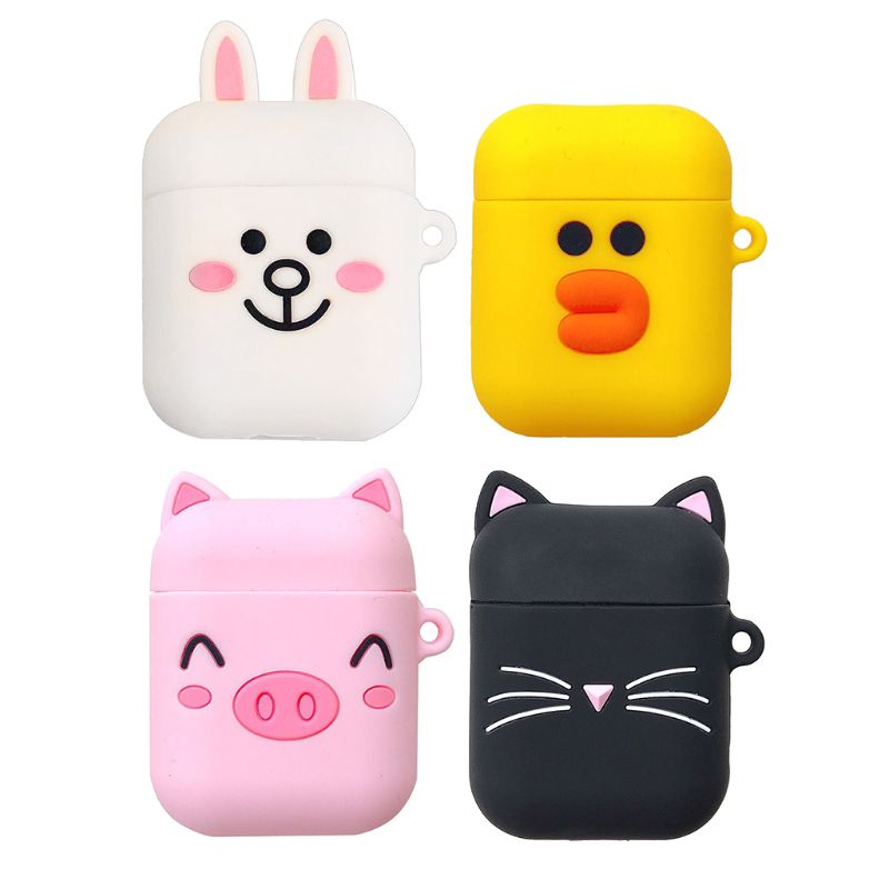 Cute Cartoon Silicone Wireless Bluetooth Earphone Protective Case Cover for for Apple Airpods 1/2 Headphone Charging Box Accesso