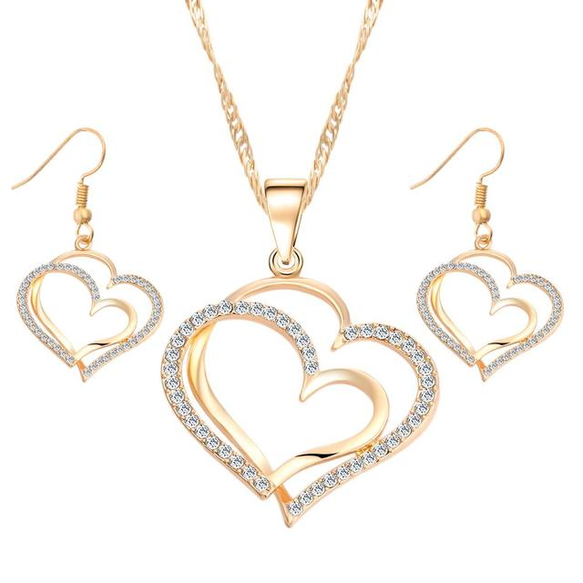 IF YOU Beautiful Heart Pattern Crystal Earrings Necklace Set Gold