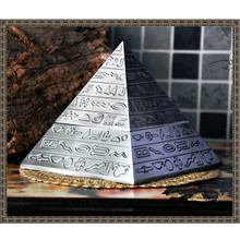 ElimElim  Pyramid Cinzeiro Retro Zinc Alloy  Ashtray With Lids Cigarette Smokeless Cigar Ashtray Ancient Egypt Patterned