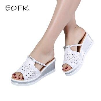 Sandalias Eofk Verano Cómodas Alta Diapositivas Cuero Señora Cuñas Plataforma Mujer Calidad Mujeres De Zapatos Las JuT3lFcK1