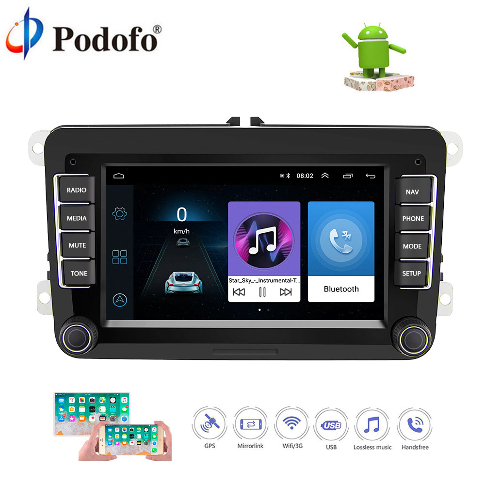 """Podofo Android Car Multimedia Player 7"""" 2 Din Bluetooth"""