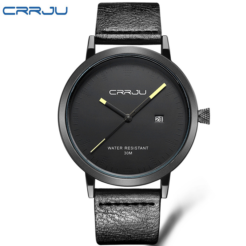 цены на Top Brand CRRJU Men Watches Men's Quartz Hour Date Clock Male Leather Sports Watch Casual Military Wrist Watch Relogio Masculino