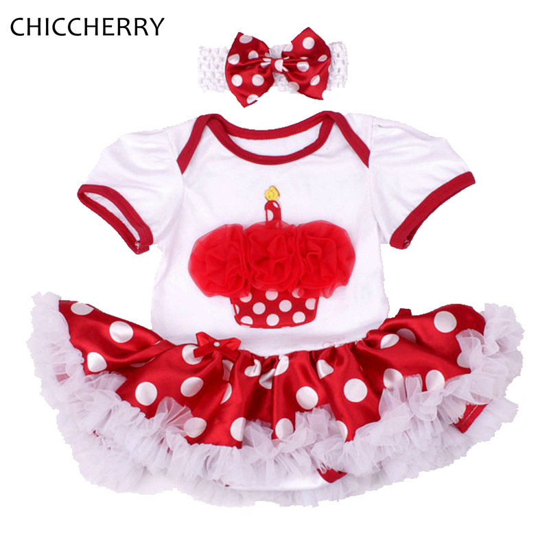 Cupcake 1 Year Girl Birthday Baby Dress Hairband Set Vestido De Bebe Party Dresses For Girls Polka Dots Clothes for Newborn