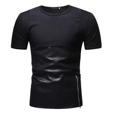 fashion 2019 pu leather pantchwork designer brand t-shirt hip hop mens summer short sleeve shirts