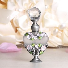 Bellis Perennis Design 8ml Retro Antique Glass&Metal Perfume Bottles Painting Flower Empty Cosmetic Container Refillable Bottle