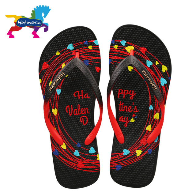 Hotmarzz Women Flip Flops Summer Slippers Black 2017 Ladies Sandals Beach  Shoes Heart Valentines Woman House