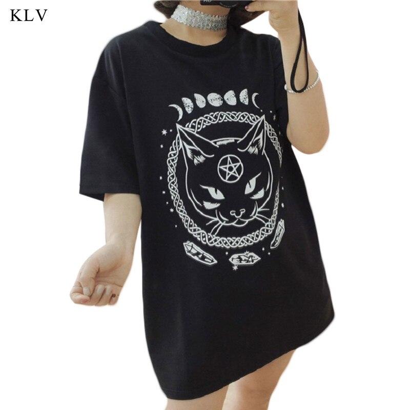 KLV gótico de la fase de luna bruja gato impreso Harajuku las mujeres Camiseta de manga corta de las mujeres cabeza verano T camisa