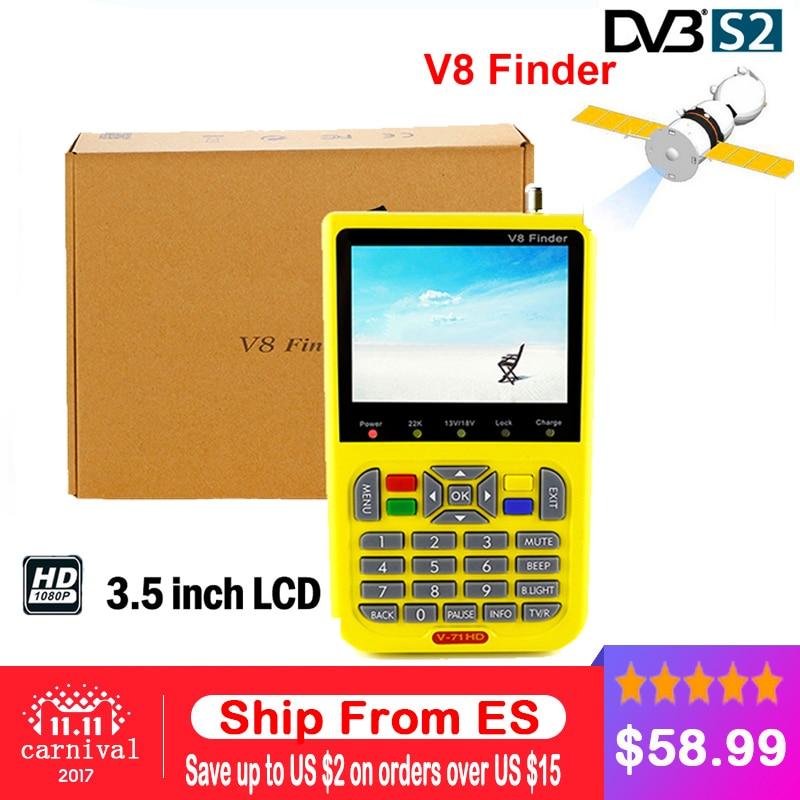 V8 Finder Satellite Finder V-71 HD DVB-S2 MPEG-2/MPEG-4 FTA High Definition Digital Satellite meter 3.5 inch LCD Display цена