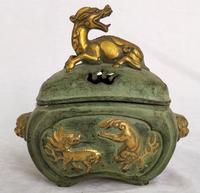 Только 1 шт.! Коллекция китайский старая бронза золоченой резной 3 Кирин Ладан горелки Главная украшения искусства антикварной кадильницу