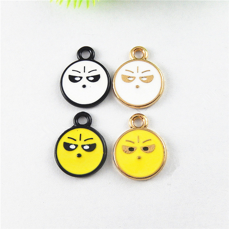 GraceAngie 10pcs Imitation Cute Funny Expression Face Style Charms Pendant Jewelry Findings Necklace Key Chain Decor 16*13*2mm