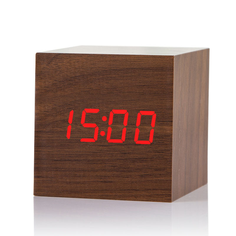 Home Decor Delicious 1pc 4 Colors Cube Wooden Wood Digital Led Desk Voice Control Alarm Clock Thermometer Back To Search Resultshome & Garden