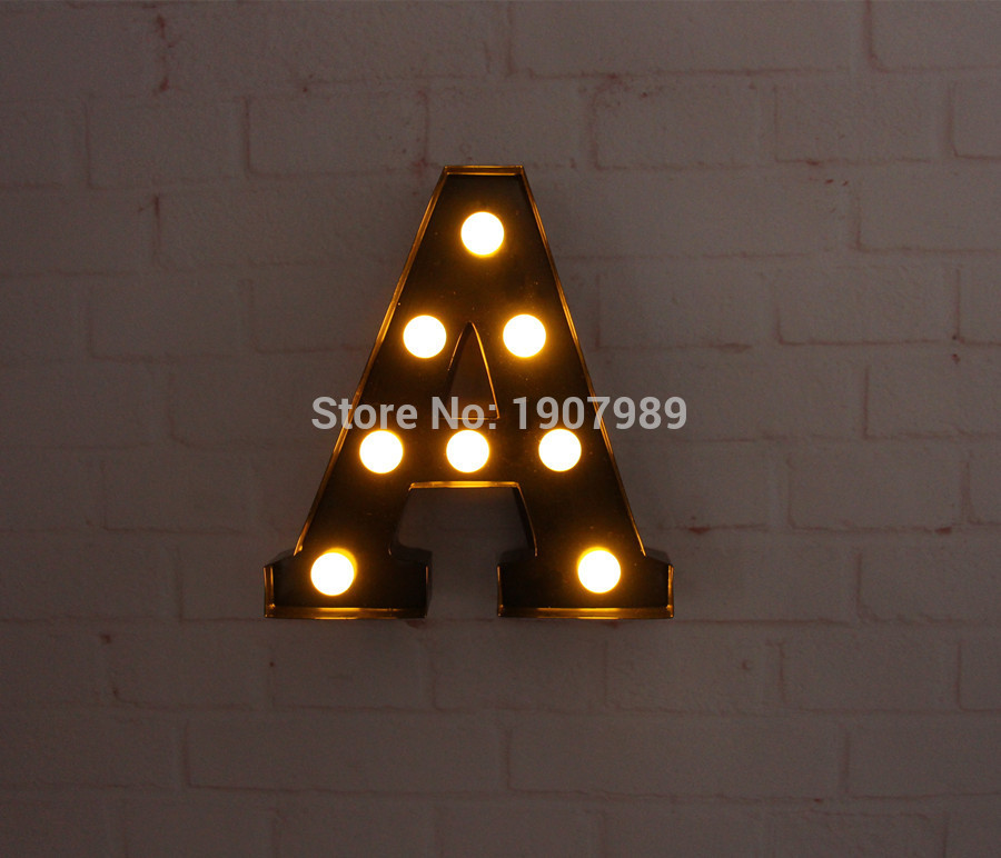 9 metal letters light led alphabet marquee sign light up vintage metal letter signs light indoor wall deration customize order in led night lights from