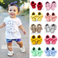 Comercio al por mayor 100 pares Bebé Mocasines de Cuero suave de LA PU inferior suave franja arco niño niños niñas Primeros Caminante infant toddler shoes