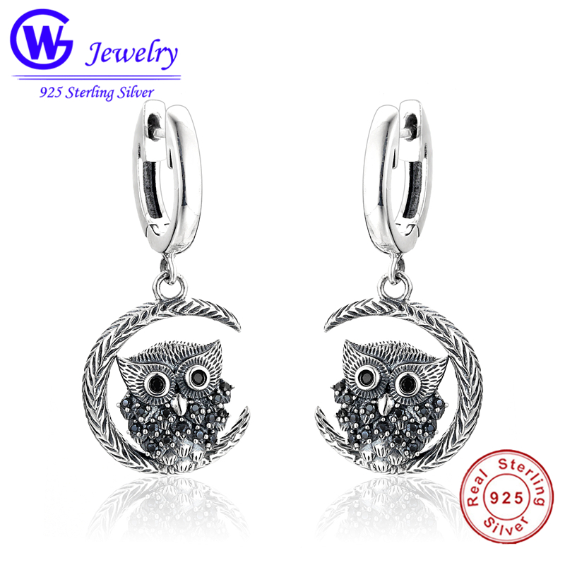 цена 2018 New arrival Black Moon Owl design 925 sterling silver ladies lovely Owl Drop earrings jewelry best birthday gift wholesale