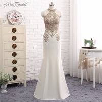Abendkleider Ivory Formal Evening Dresses Long Vestido de Festa Mermaid Halter Neck Gold Appliques Prom Gown Robe de Soiree 2017