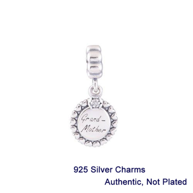 Autênticas pérolas de prata esterlina presente avó com cz pedra serve para estilo pandora pulseiras serpente cadeia frete grátis l310