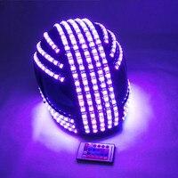 Шлем с LED подсветкой монохромный полноцветный световой гоночные шлемы RGB водопад эффект светящиеся вечерние DJ маска робота