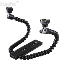 Flexible Dual Arm Camera Flash Bracket Holder Two Hot Shoe Mounts for Speedlite For Canon Nikon DSLR Macro Shooting