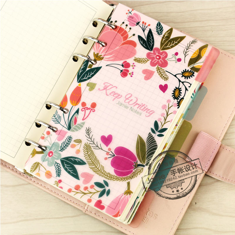 Jamie Planner Original A7 A6 <font><b>A5</b></font> PP Material Separator Pages 6 loose Leaf <font><b>Notebook</b></font> Separator Pages image