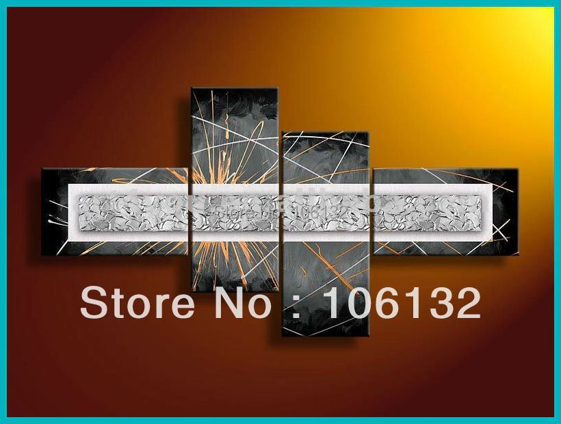 Large Silver Wall Decor: Framed 4 Panel Large Black And Silver Wall Art Abstract