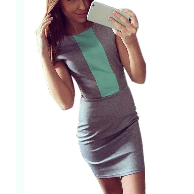23b09de7c48 US $9.53 10% OFF|2018 Sexy summer dress women fashion pink gray color block  tight fitted dresses ladies sexy bodycon zipper back dress J3271-in ...